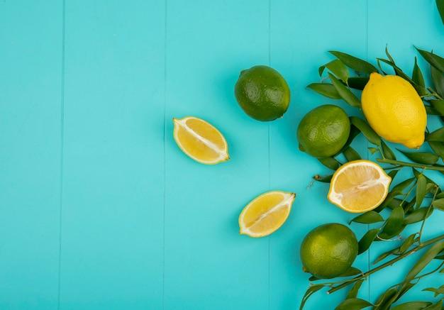 青い表面に葉を持つ緑と黄色のレモンのトップビュー