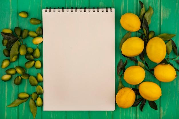 コピースペースのある緑の木製の壁に分離された黄色のレモンと緑のキンカンの上面図