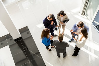 Top view of group young business people in the modern office