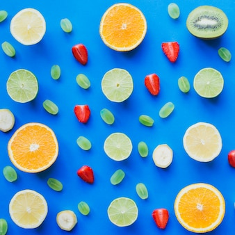 Top view of healthy composition with summer fruits