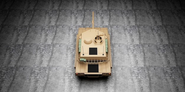 Вид сверху тяжелого военного танка на бетонном полу в ангаре
