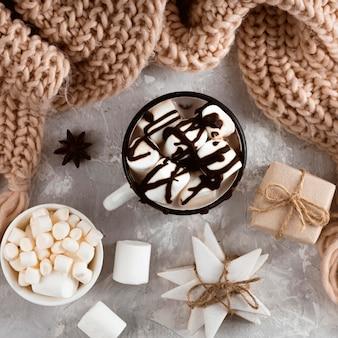 Вид сверху концепции горячего шоколада