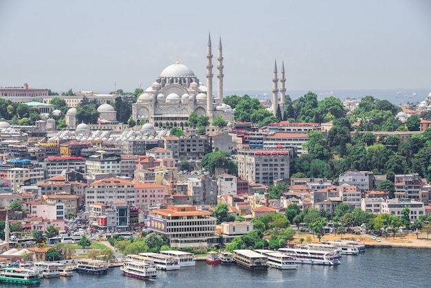 Вид сверху на город стамбул и причал для босфорских поездок в турцию