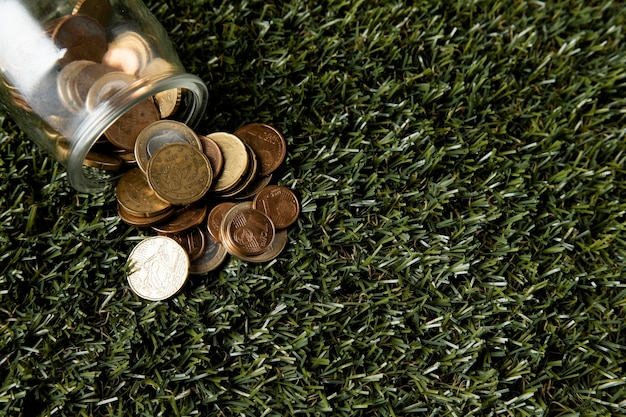 Вид сверху на банку с монетами на траве и копией пространства