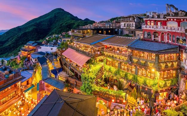 대만 타이페이 지우펀 옛 거리의 상위 뷰