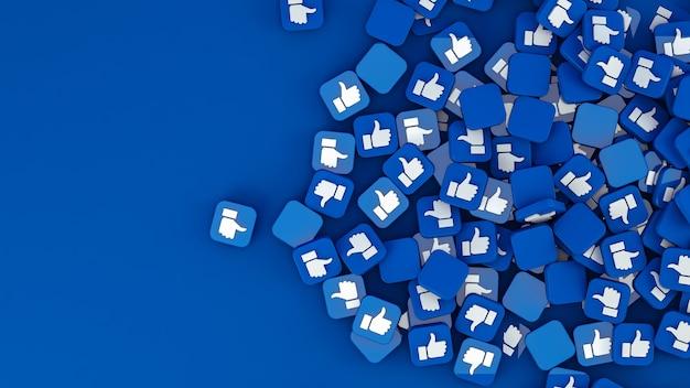 Вид сверху подобных значков на синем