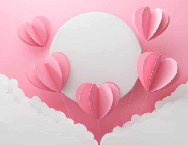 Вид сверху на множество розовых сердечек