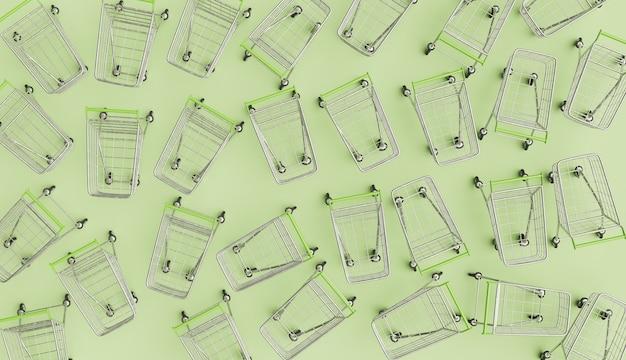 多くのショッピングカートの上面図