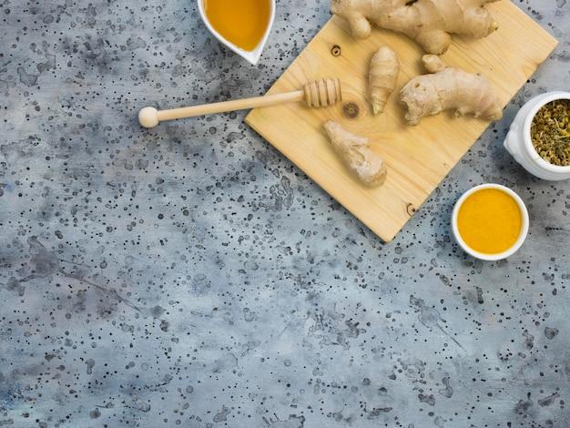 薬草と生姜の上面図