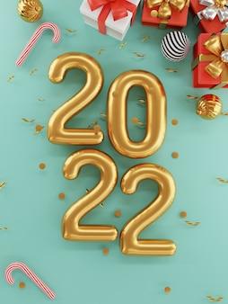 メリークリスマスと新年あけましておめでとうございます2022年の金のリアルなデザインの上面図と3dレンダリング技術の概念による装飾的な金の弓のきらめきとボールと赤いギフトボックスを閉じます。