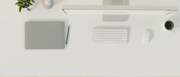 컴퓨터 태블릿과 제품 디스플레이 3d 렌더링을 위한 공간이 있는 최소 작업 공간의 상위 뷰