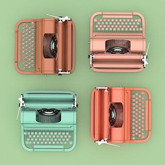 Вид сверху разноцветных старых старинных ретро пишущих машинок на желтом фоне. 3d рендеринг