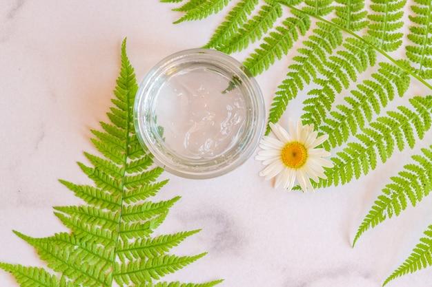 シダの葉とカモミールの花が付いているガラス瓶の自然な顔と体のmousturizingゲルの上面図。肌のための植物ベースの天然有機化粧品