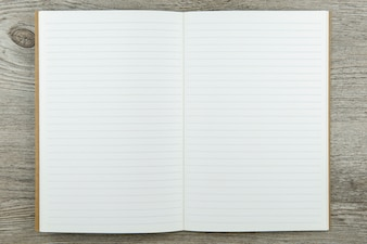 Top view of notebook paper background saved with path