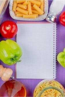食材とメモ帳のトップビュー