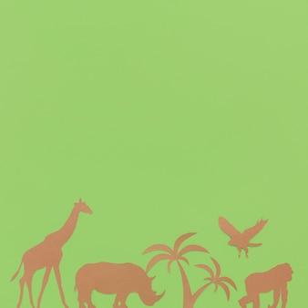 Вид сверху бумажных животных с копией пространства на день животных
