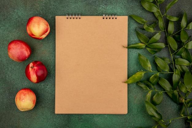 コピースペースと緑の背景にメモ帳と葉と桃のパターンのトップビュー