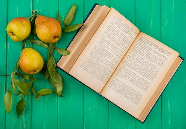 緑の表面に開いた本と桃のトップビュー