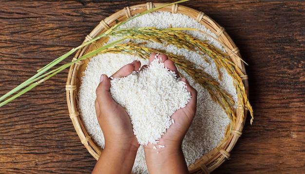 쌀을 들고 사람의 상위 뷰