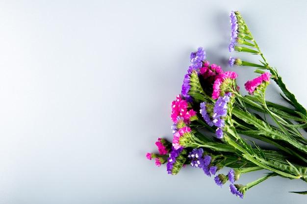 Вид сверху розового и темно-фиолетового цвета статицы лимониум цветов на белом фоне с копией пространства