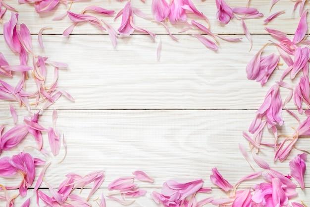 コピースペースのあるピンクの牡丹の花びらの上面図