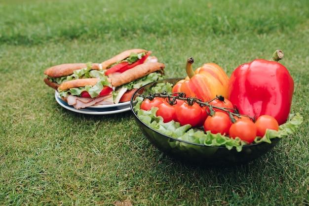 自家製パンと新鮮な野菜から作られた自家製のおいしいサンドイッチのプレートの上面図。草の上の健康的なエコ野菜のボウル。