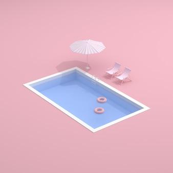 Вид сверху на бассейн на розовом фоне.