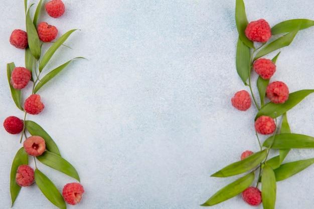 Вид сверху малины и листьев по бокам на белой поверхности Бесплатные Фотографии