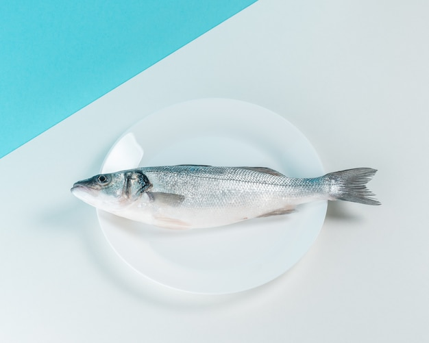 접시에 원시 농어 물고기의 상위 뷰