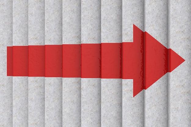 Вид сверху красной стрелки на шаговой лестнице вверх по чрезвычайно крупному плану. 3d рендеринг
