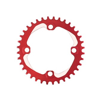 흰색 배경에 고립 된 자전거에 대 한 빨간색 체인 링 구성 요소의 상위 뷰
