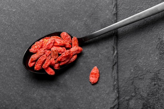 빨간 말린 과일 개념의 상위 뷰
