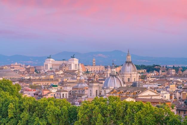 イタリア、カステルサンタンジェロからのローマの街並みの平面図。