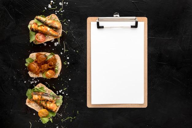 メモ帳でシーフード料理のトップビュー