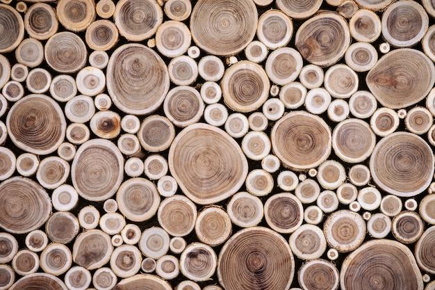가지와 나무 배경 조각의 상위 뷰