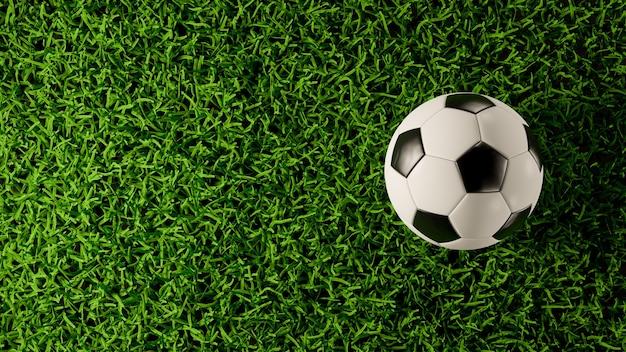 잔디 필드에서 축구 또는 축구의 상위 뷰. 3d 렌더링 그림입니다.