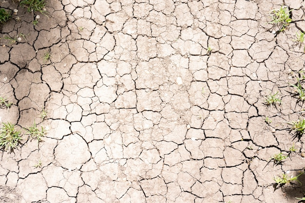 Вид сверху текстуры разрыва почвы для фона. текстура земли высохла в трещинах