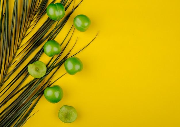 コピースペースを持つ黄色のテーブルの上のヤシの葉とサワーグリーンプラムのトップビュー