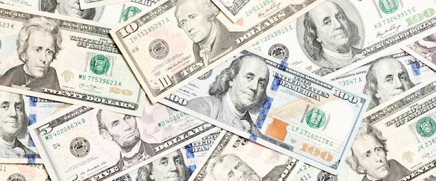 달러 지폐를 확산의 상위 뷰