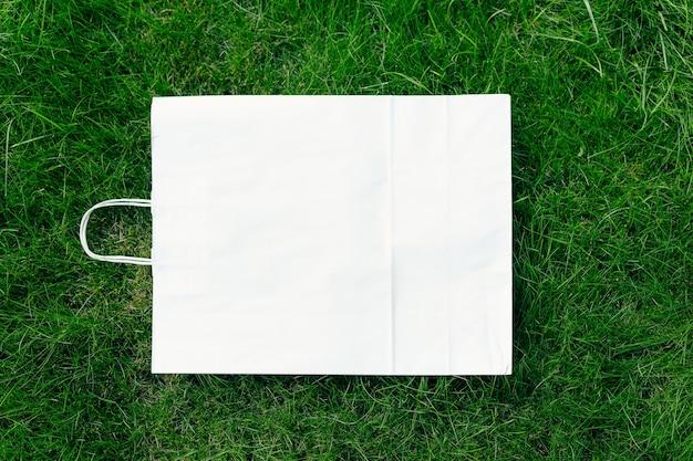 사각형 프레임의 맨 위 보기, 손잡이가 있는 공예 친환경 패키지가 있는 잔디 녹색 잔디의 창의적인 레이아웃.