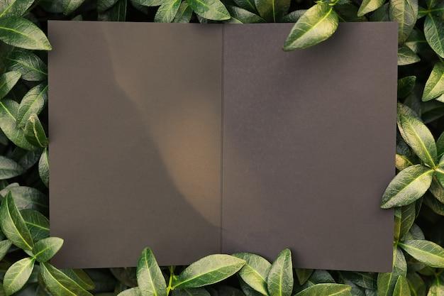 Вид сверху на квадратную рамку креативного макета из тропических растений и листьев барвинка с черными откры ...