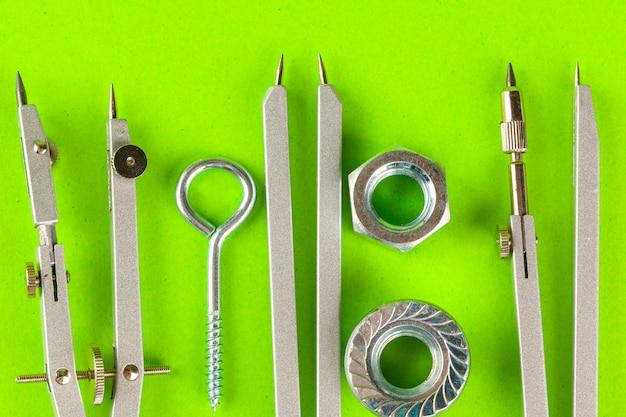스테인레스 스틸 볼트 또는 철 손톱의 평면도