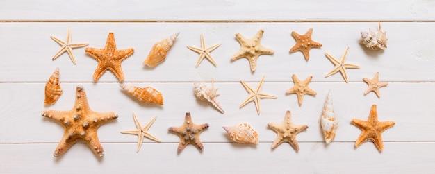 白い木の質感のヒトデと多くの貝殻の上面図