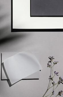 Вид сверху канцелярской бумаги с растениями