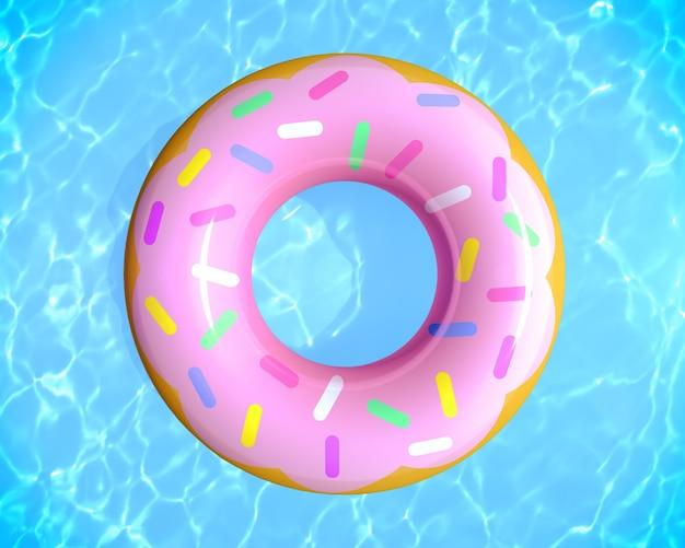 スイミングプールの3dレンダリングでゴムリングドーナツのおもちゃと夏のプールパーティーのコンセプトの上面図