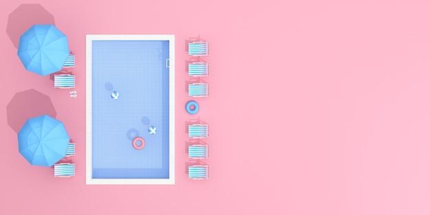 ピンクの背景のスイミングプールの上面図。