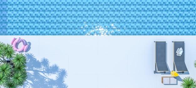 モダンで豪華なヴィラの外観の3dレンダリングでラウンジチェア付きのスイミングプールの上面図