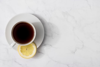 Top view of tea in cup