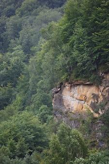 ロシアの北コーカサスの木々と岩の崖の上面図。