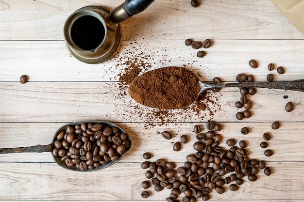 3 種類のコーヒー豆を上から見た図
